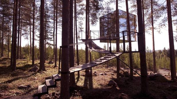 Treehotel, Lulea, Sweden. The Mirror Cube is, exactly as the name suggests, a perfect cube in the trees with mirrored ...