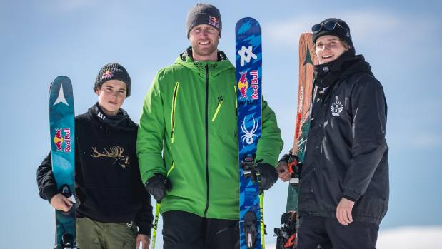 Freeskiers Nico Porteous, left, of Wanaka, Russ Henshaw of Australia and Miguel Porteous in the Minaret Station back country.