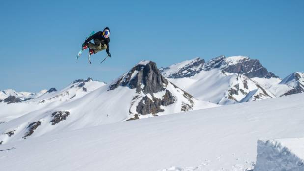 Freeskier Nico Porteous, 14, of Wanaka, in the backcountry of Minaret Station.