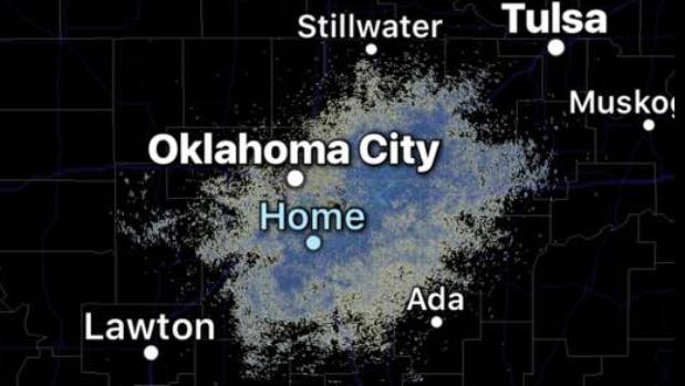 A burst of activity - thought to be birds - appeared on radar 15 minutes before an earthquake in Oklahoma.