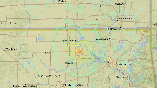 The shallow 5.3-magnitude quake was centred north of Oklahoma City.