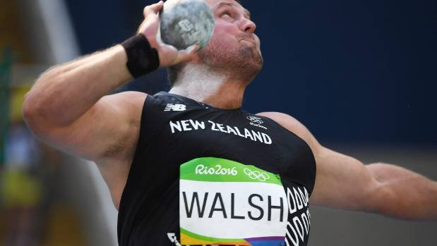 Putting the effort in: New Zealand's Tom Walsh competes at the Rio Olympics, where he won bronze in the shot put, last month.