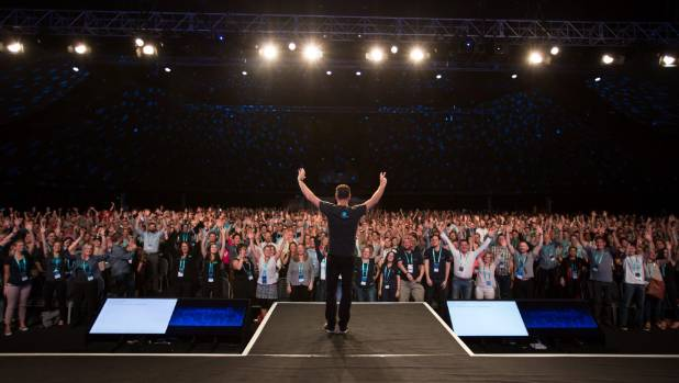 Xero Australia managing director Trent Inness takes the stage at a trade show in Australia, which has become Xero's ...