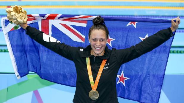 Pascoe celebrates after winning a gold medal in the Women's 100m backstroke.