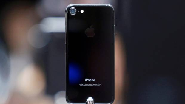 The iPhone 7 in jet black.