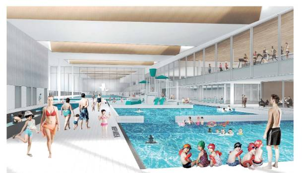 An artist's impression of the leisure water area at the metro sports facility.