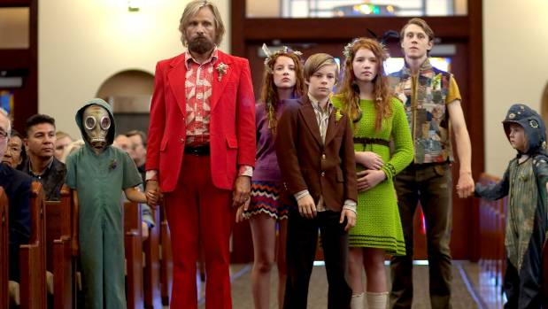 Supplied Viggo Mortensen in Captain Fantastic plays Ben Cash, a father living off the grid with six precocious children.