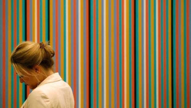"Bridget Riley's artwork ""Reflection"" on display in London in 2011."