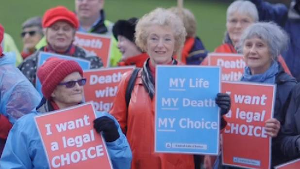 Supporters of voluntary euthanasia at the presentation of a petition to Parliament in June.