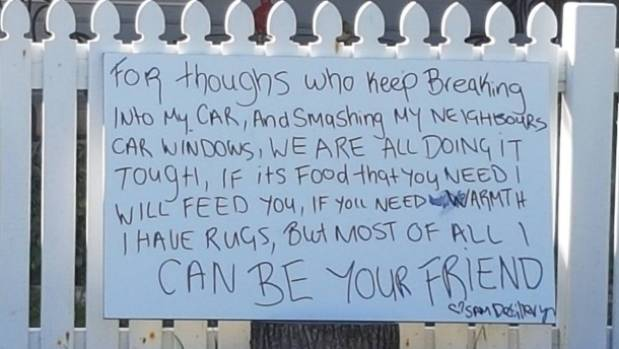Australian Woman Puts Up Sign Offering Thieves Food And