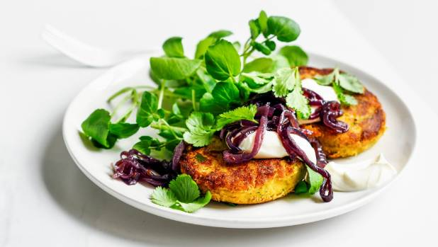 These kumara and chickpea fritters are packed with flavour.