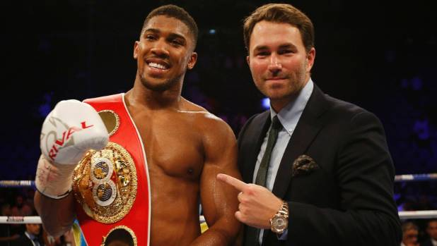 Anthony Joshua's promoter Eddie Hearn still has plenty of work to do to tie down the next title fight for his IBF champion.