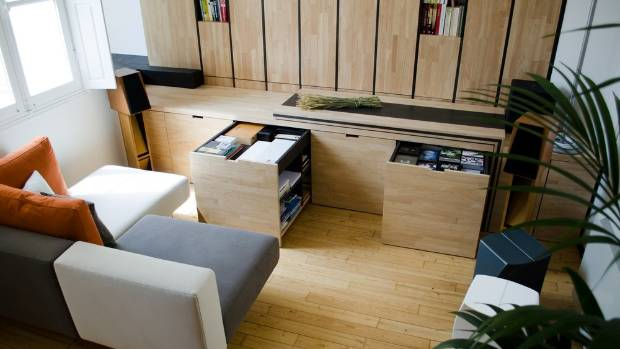 tiny nest apartment presents clever storage solutions. Black Bedroom Furniture Sets. Home Design Ideas