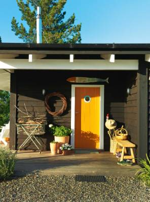 The Orange Front Door Features A Porthole From Patricku0027s Old Fishing Boat  Doris And Is Topped