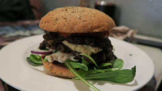 The walnut mushroom burger at K Road's Revel eatery.