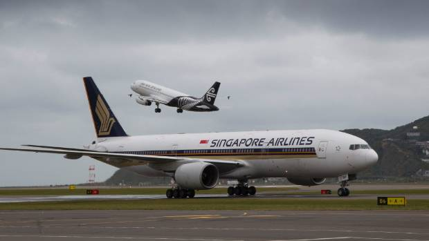 Singapore Airlines' inaugural flight from Singapore and Canberra, on the tarmac at Wellington Airport on September 21.