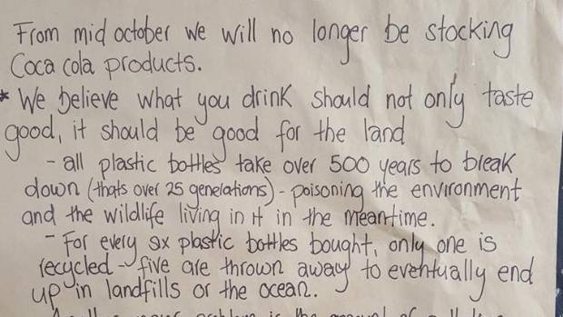 Okere Falls Store's Facebook post outlining why they're turning their back on Coca-Cola