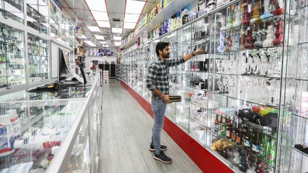 Shosha on Karangahape Road in Auckland stocks a bewildering variety of e-cigarettes and e-jucies.