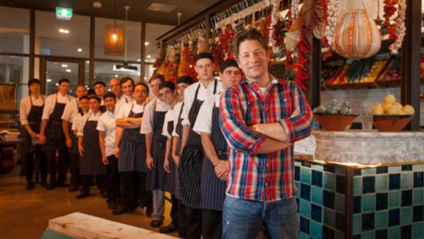 Jamie Oliver at his Canberra restaurant Jamie's Italian.