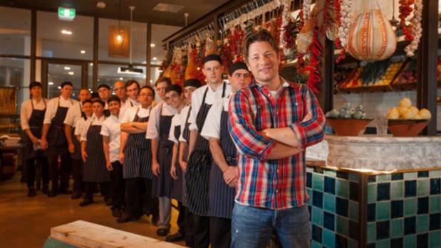 Jamie Oliver at his Canberra restaurant Jamie's Italian.