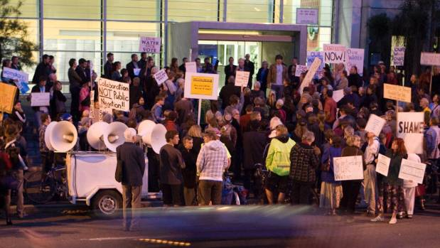 A noisy protest outside The Press building was aimed at disrupting a forum involving Prime Minister John Key.