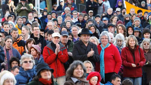 About 2000 protested the sacking of ECan in Christchurch's Cathedral Square.