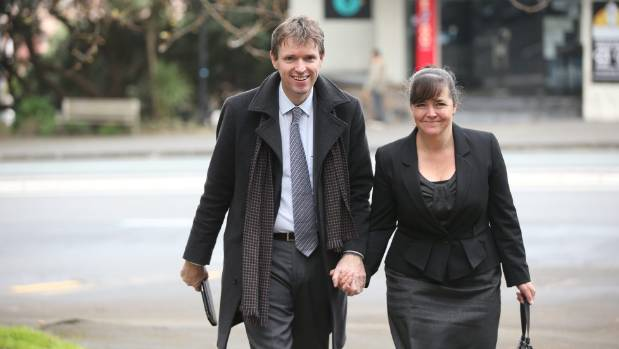 Colin Craig arrives at Auckland High Court with his wife Helen Craig.