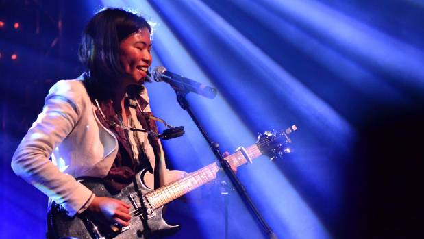 Iris Guevarra performing at the Smokefree Rockquest final on September 24, who took out the solo section.