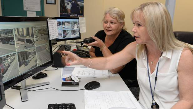 CCTV volunteers Penny Harrington, left, and Cindy Jurie at Wellington Central Police Station. (File photo)