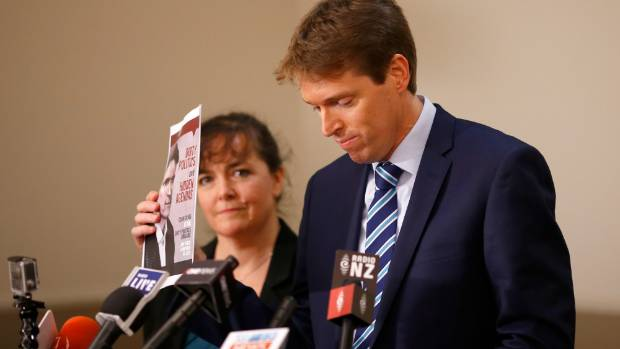 Former leader of the New Zealand Conservative Party, Colin Craig alongside his wife Helen as he outlines an alleged ...