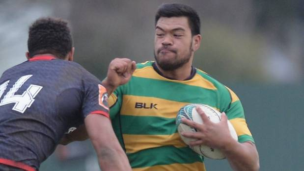 Losi Filipo plays rugby for Wellington XV against a Canterbury XV in a pre-season trial match in Christchurch.