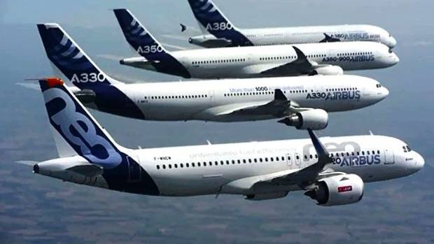Airbus family flight: A380, A350, A330 and A320.
