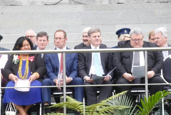 MPs, including Andrew Little, Bill English and Gerry Brownlee at the swearing-in ceremony for Dame Patsy Reddy.