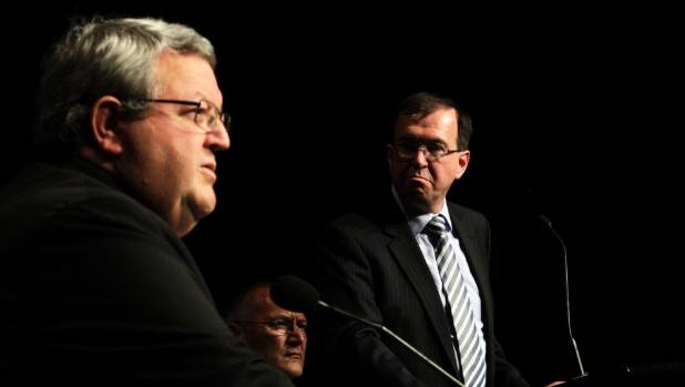 "Gerry Brownlee and Ian Simpson and an earthquake recovery forum in 2013. Brownlee says Simpson has faced ""considerable, ..."