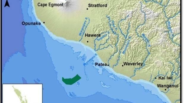 The 66 square kilometres off the South Taranaki coast where Trans Tasman Resources have consent to mine iron ore.