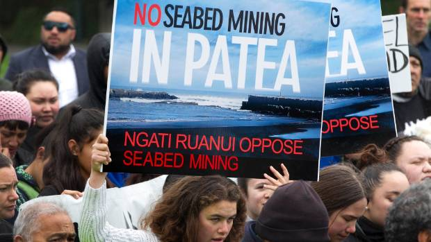 Members of Ngati Ruanui of Patea protested against mining company TTR's proposal on Parliament grounds in Wellington in ...
