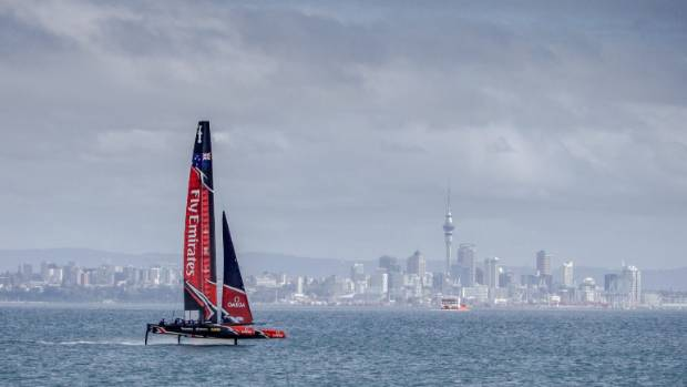 Team New Zealand up on their foils on Auckland's Waitemata Harbour during testing.