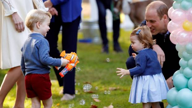 Whoops a daisy! Princess Charlotte takes a tumble