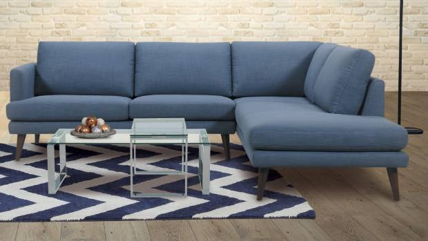 This Danske Mobler sofa is teamed with a bold geometric rug.