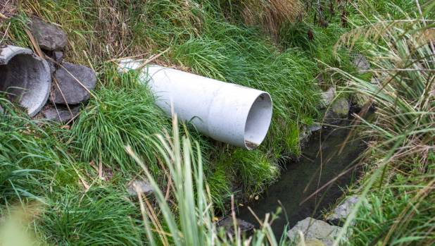 A drain which empties into Haytons stream, in the middle of an industrial area.
