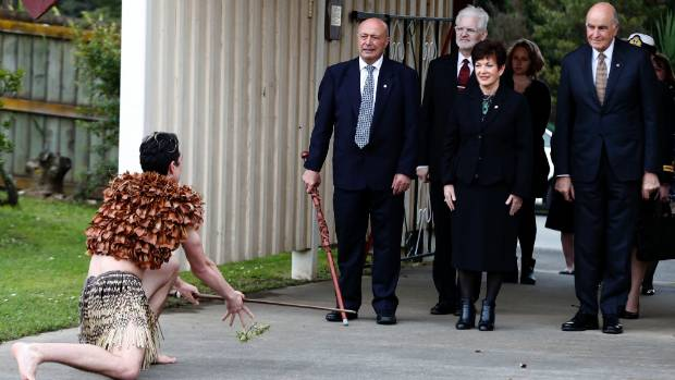 Waiaio Nga Morehu Elkington, left, challenges Piri Sciascia, Greg Baughen, Governor General Dame Patsy Reddy and Sir ...