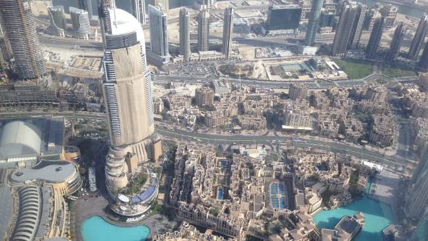 View from Dubai's Burj Khalifa, whose lifts only go half the speed as those in the Shanghai Tower.
