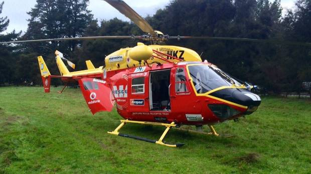 The Auckland Westpac Rescue Helicopter landed at an adjacent paddock in Te Kauwhata.