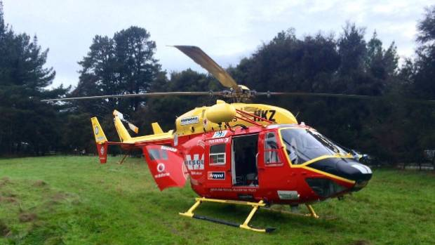 A man was air lifted to Whangarei Hospital after suffering first and second degree burns near Tinopai, north of Auckland.