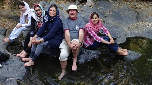John Hearnshaw hiking with Iranian students on Mt Daraband, near Tehran.