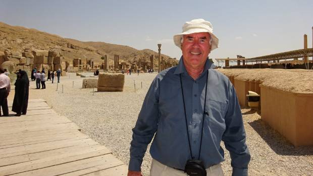 The author at the ancient city of Persepolis near Shiraz in southern Iran.