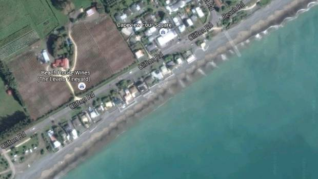 Lawrence's wall protects two of the 21 sections on Clifton Rd, Haumoana, threatened by rising seas.