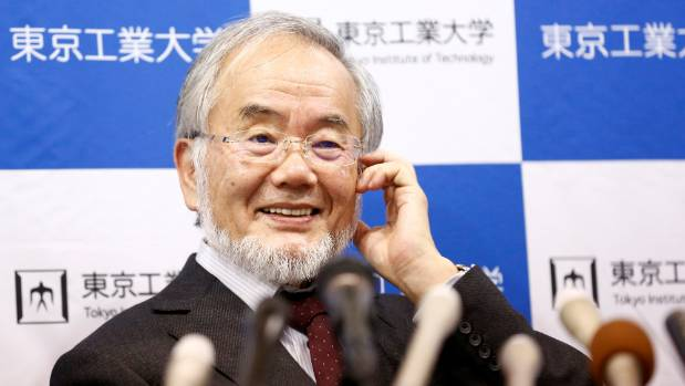 Yoshinori Ohsumi at a news conference after he won the Nobel medicine prize.