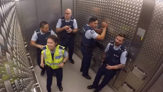 New Zealand police are at it again - this time making some sweet sounds in an elevator.