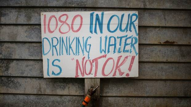 A sign outside a 1080 activist's home in the bush, near Hari Hari on the South Island's West Coast.